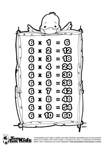 tabuada do 6 para colorir 350x496 - Tabuada do 6 para colorir e aprender brincando