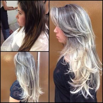 belos cabelos castanhos escuros com luzes platinadas