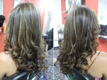 cabelos castanhos escuros com luzes finas