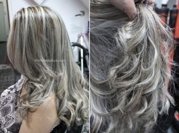fotos de cabelos castanhos escuros com luzes platinadas