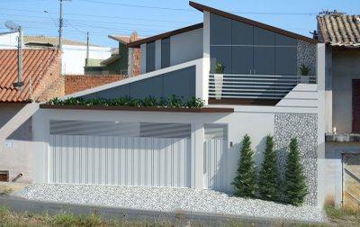 Ideias para fachada residencial simples em 30 fotos moda for Modelos de fachadas modernas para casas