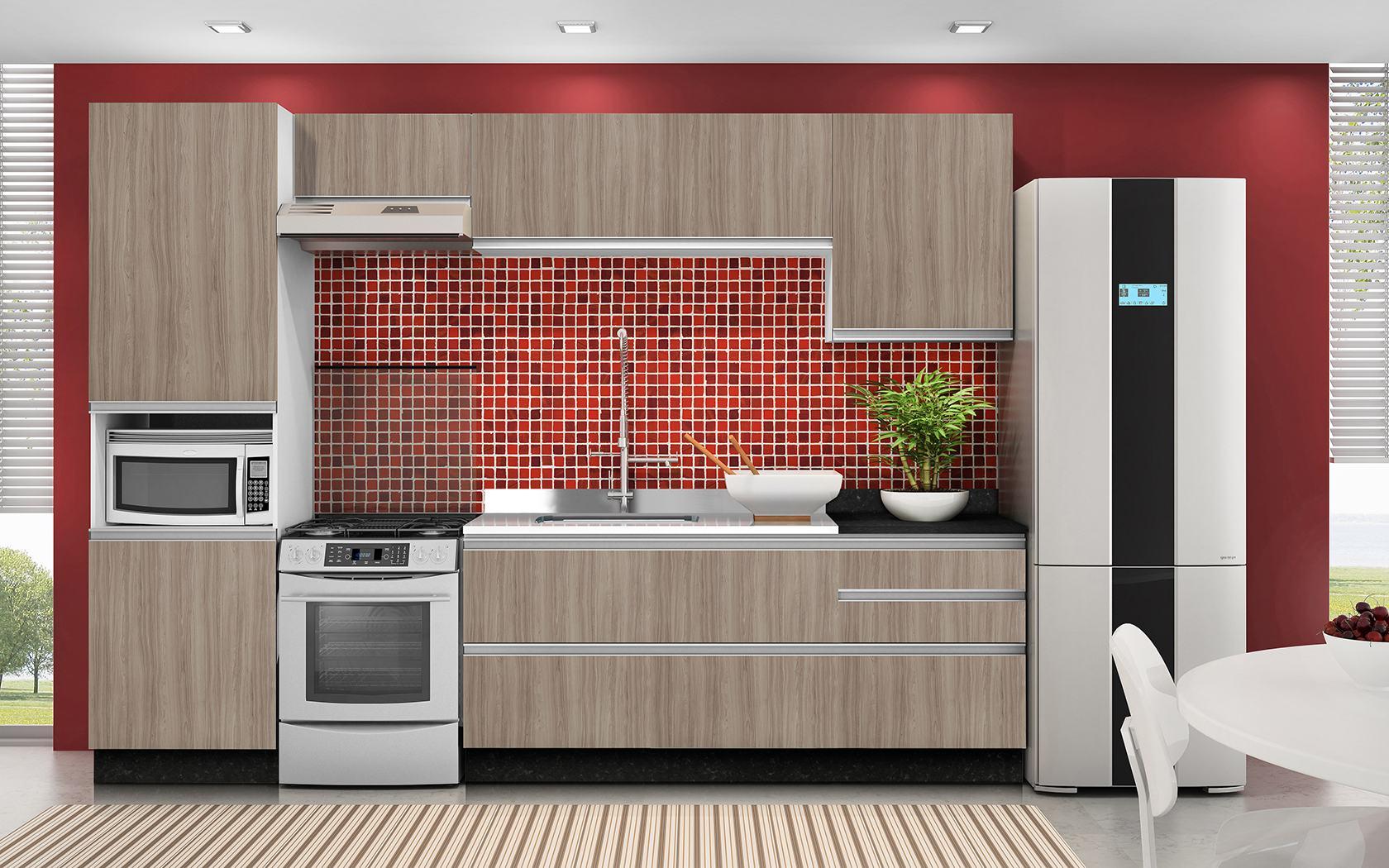 Cozinha modulada completa com armários e balcões  Moda & Decor # Cozinha Pequena Moldulada