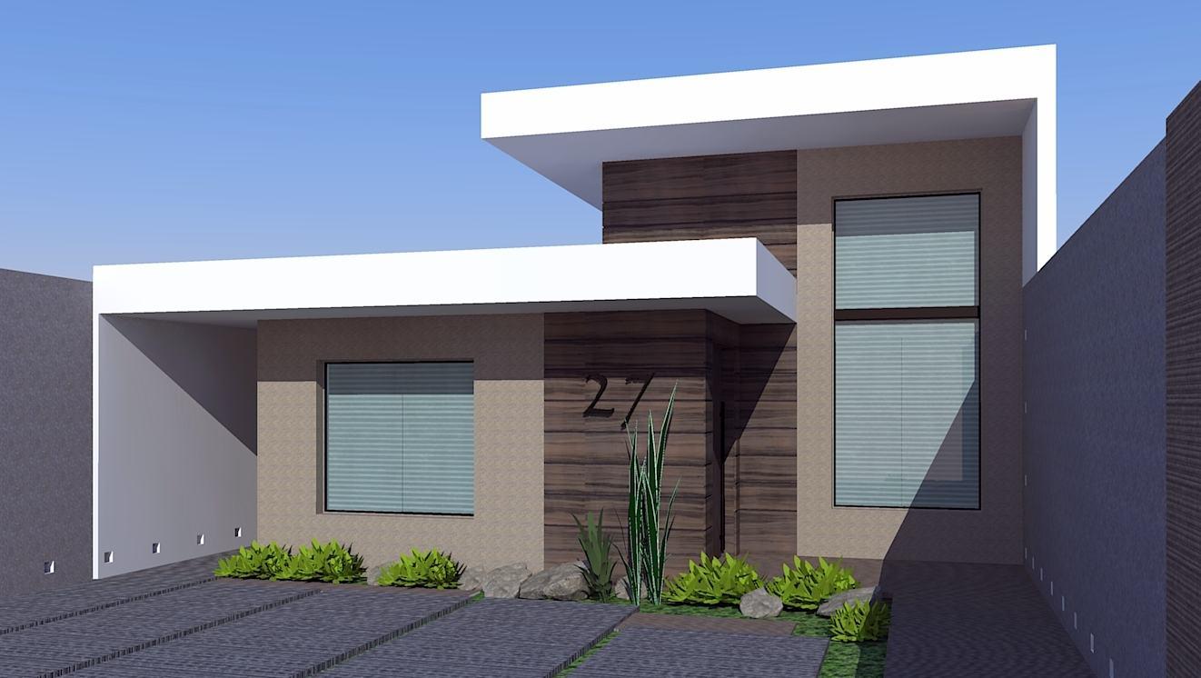 Ideias para fachada residencial simples em 30 fotos moda for Modelos fachadas para frente casa