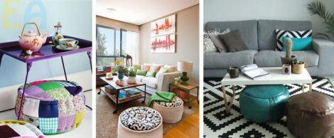 puffs para sala 470x194 - Modelos de Puff decorativo para sala de estar coloridos e charmosos