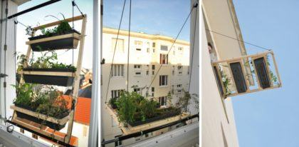 horta na sacada de apartamento penduradas na janela 420x206 - HORTA VERTICAL PARA SACADA do apartamento, veja