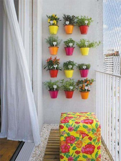horta na sacada de apartamento vasinhos na parede 420x558 - HORTA VERTICAL PARA SACADA do apartamento, veja