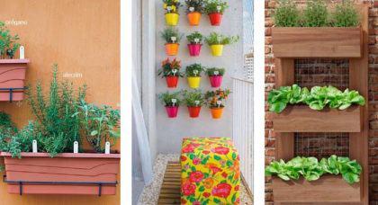 modelos de horta na sacada de apartamento 420x228 - HORTA VERTICAL PARA SACADA do apartamento, veja
