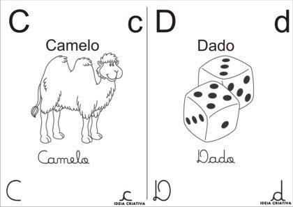 letras do alfabeto para colorir Camelo e Dado 420x297 - Letras do alfabeto para colorir para aprender brincando