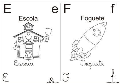 letras do alfabeto para colorir E e F 420x297 - Letras do alfabeto para colorir para aprender brincando