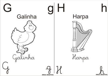 letras do alfabeto para colorir G e H com desenhos 420x297 - Letras do alfabeto para colorir para aprender brincando