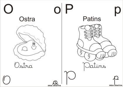 letras do alfabeto para colorir com desenhos O e P 420x297 - Letras do alfabeto para colorir para aprender brincando