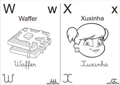 letras do alfabeto para colorir com imagens 420x297 - Letras do alfabeto para colorir para aprender brincando