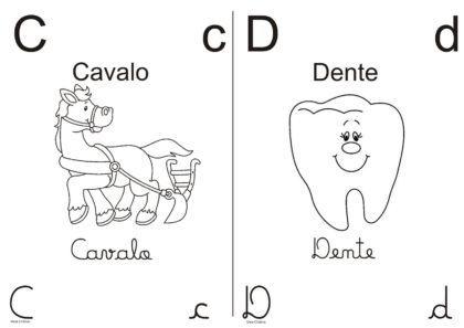 letras do alfabeto para colorir com imagens C e D 420x297 - Letras do alfabeto para colorir para aprender brincando