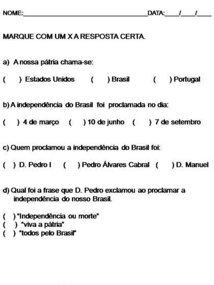 atividades escolares independencia do brasil marcar x 420x560 - Atividades escolares Independência do Brasil data 7 de setembro