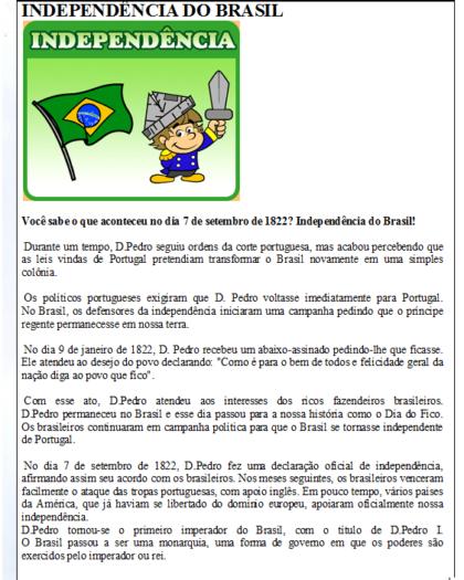atividades sobre a independencia do brasil texto explicativo 420x525 - Atividades sobre a INDEPENDÊNCIA DO BRASIL para 7 de setembro