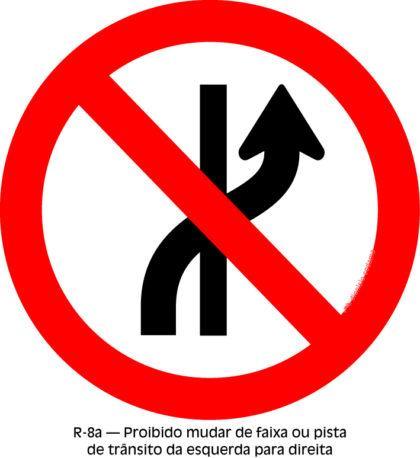 placas de transito proibido mudar de faixa ou pista 420x458 - Placas de Transito para conhecer e imprimir