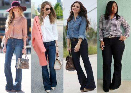 como usar as calcas flare jeans com camisa 420x300 - CALÇAS FLARE JEANS moda feminina, como usa-las