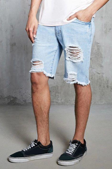 bermuda jeans rasgada 1 470x705 - Bermuda Jeans Masculina Como Usar, Modelos e cores