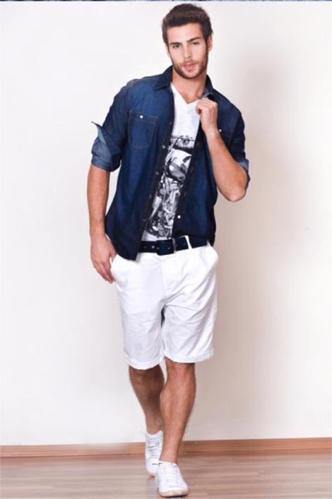 bermuda masculina branca 470x707 - Bermuda Jeans Masculina Como Usar, Modelos e cores