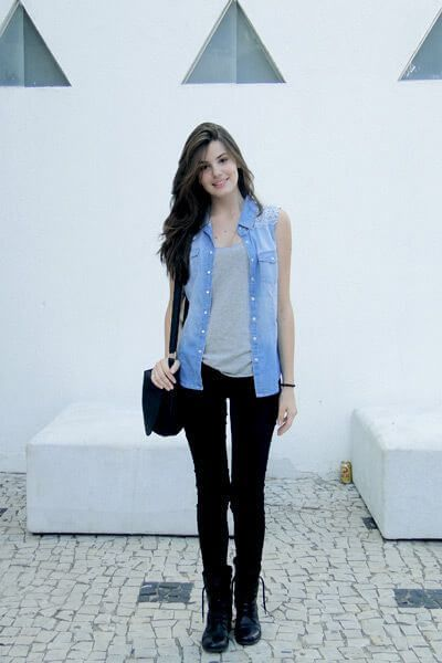 colete jeans com calca 7 - Colete Jeans Feminino Confira como Combinar com Tudo