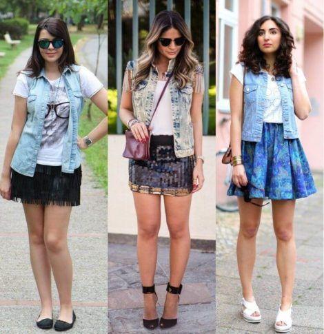 colete jeans com saia 1 470x485 - Colete Jeans Feminino Confira como Combinar com Tudo
