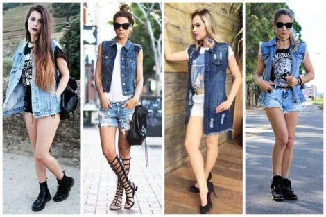 colete jeans com short 7 470x313 - Colete Jeans Feminino Confira como Combinar com Tudo