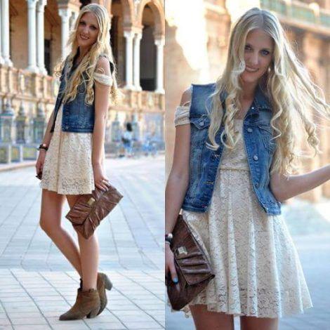 colete jeans com vestido 2 470x470 - Colete Jeans Feminino Confira como Combinar com Tudo
