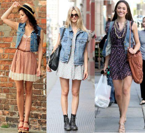 colete jeans com vestido 4 470x430 - Colete Jeans Feminino Confira como Combinar com Tudo