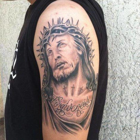 tatuagem de jesus cristo 1 470x470 - Tatuagem Religiosa (Tipos e áreas do corpos com a tattoo )