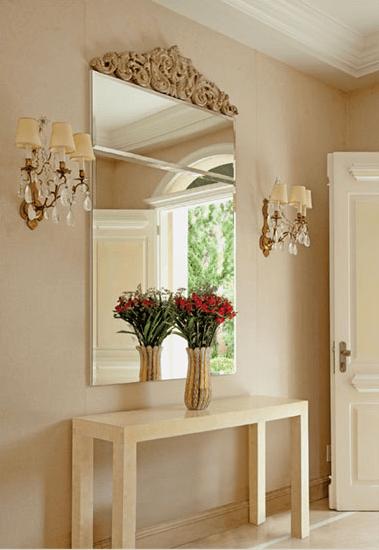 hall de entrada com espelho 1 - Hall de Entrada Decorado com Sofisticação, Modelos