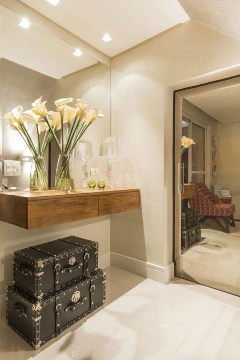 hall de entrada com espelho 2 470x705 - Hall de Entrada Decorado com Sofisticação, Modelos