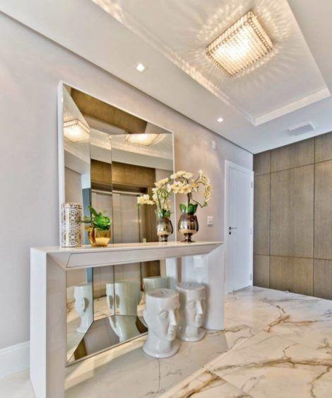 hall de entrada com espelho 3 470x562 - Hall de Entrada Decorado com Sofisticação, Modelos