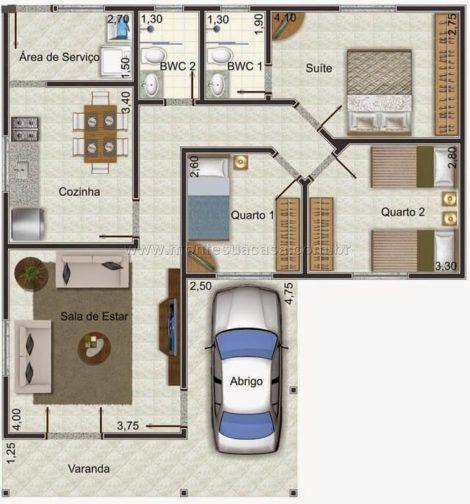 planta de casa em l 2 470x504 - Modelos de Casas em L Configurações Modernas