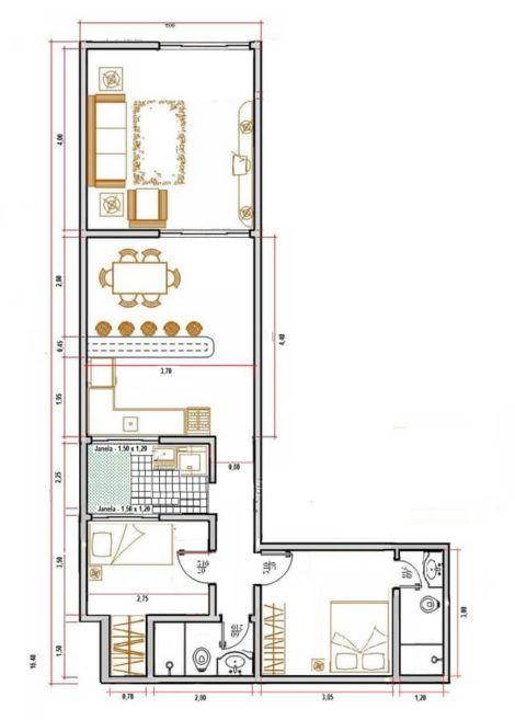 planta de casa em l 3 470x657 - Modelos de Casas em L Configurações Modernas