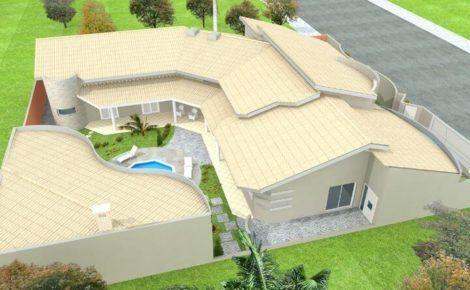 planta de casa em l com piscina 1 470x290 - Modelos de Casas em L Configurações Modernas