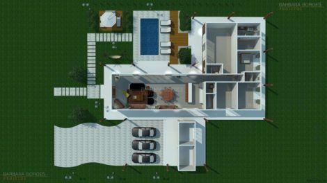projeto 3d casa em l 470x264 - Modelos de Casas em L Configurações Modernas